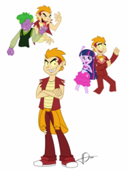 Size: 1024x1365 | Tagged: safe, artist:jo-bac, garble, spike, twilight sparkle, human, equestria girls, converse, dancing, equestria girls-ified, female, human spike, humanized, male, shipping, shoes, simple background, straight, teenaged dragon, twigarble