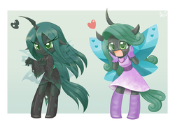 Size: 1407x1000 | Tagged: anthro, artist:howxu, blushing, boots, changeling, changeling queen, chibi, clothes, cute, cutealis, dress, duality, glasses, gloves, hands on face, heart, horn, licking, licking lips, queen chrysalis, reversalis, safe, shoes, skirt, tareme, tongue out, tsurime, wings