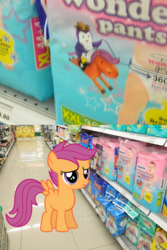 Size: 1024x1534 | Tagged: 2 panel comic, artist:blackrhinoranger, artist:quanno3, comic, diaper, diaper package, irl, look-alike, penguin, photo, ponies in real life, safe, scootaloo
