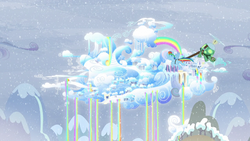 Size: 1280x720 | Tagged: safe, screencap, rainbow dash, tank, pegasus, pony, tortoise, tanks for the memories, city, cloud, cloudsdale, flying, rainbow, rainbow waterfall, snow, snowfall, weather factory