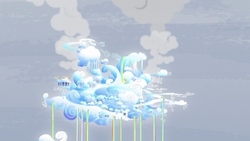Size: 1280x720 | Tagged: safe, screencap, tanks for the memories, city, cloud, cloudiseum, cloudsdale, no pony, rainbow, rainbow waterfall, smoke, weather factory