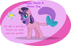 Size: 1024x666 | Tagged: safe, artist:mlp-trailgrazer, oc, oc:felis velvet, cat pony, hybrid, original species, my little pony: the movie, abstract background, bow, chest fluff, colored sclera, female, holiday, interspecies offspring, offspring, parent:capper, parent:rarity, parents:capperity, simple background, slit pupils, solo, tail bow, transparent background, valentine, valentine's day