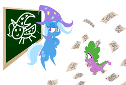 Size: 2455x1655 | Tagged: safe, artist:dragonpone, derpibooru exclusive, spike, starlight glimmer, trixie, alicorn, dragon, mushroom pony, original species, pony, unicorn, alicornified, bipedal, butt freckles, cape, chalk, chalkboard, chest fluff, clothes, cutie mark, drawing, duo, female, freckles, gosh! trixie, hat, hoof on hip, lidded eyes, male, mare, mushroom, paper, race swap, rocket, shoulder freckles, shroomsie, simple background, sitting, smiling, teaching, toy interpretation, trixie's cape, trixie's hat, trixie's rocket, trixiecorn, white background