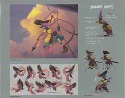 Size: 3421x2667 | Tagged: safe, artist:angela an, artist:rebecca dart, artist:tony reyna, captain celaeno, seagull, anthro, my little pony: the movie, the art of my little pony: the movie, amputee, concept art, feathered hat, female, madame harpy, peg leg, prosthetic leg, prosthetic limb, prosthetics, reference sheet, sword, weapon