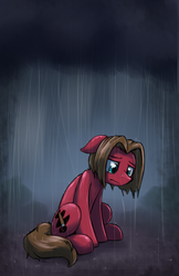 Size: 1255x1937 | Tagged: artist:otakuap, earth pony, male, oc, oc:doodles, oc only, pony, rain, sad, safe, sitting, solo, stallion