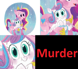 Size: 1860x1656   Tagged: safe, artist:zoe persico, edit, princess cadance, princess flurry heart, alicorn, pony, good night baby flurry heart, baby, diaper, evil flurry heart, female, filly, implied murder, little golden book, mare, mother and daughter, spoiler, storybook, text