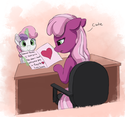 Size: 2250x2113 | Tagged: safe, artist:vanillaghosties, cheerilee, sweetie belle, earth pony, pony, unicorn, bitch, card, chair, cheerilee is unamused, dead inside, desk, dialogue, female, filly, insult, levitation, magic, mare, open mouth, paper, poor cheerilee, pun, sitting, sweetie fail, teacher and student, telekinesis, unamused, valentine's day card