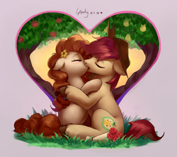Size: 1910x1700   Tagged: safe, artist:luciferamon, bright mac, pear butter, earth pony, pony, apple tree, blushing, brightbutter, couple, eyes closed, feels, female, floppy ears, flower, holiday, intertwined trees, kissing, male, mare, pear tree, rose, shipping, stallion, straight, tree, valentine's day