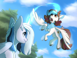 Size: 1280x960 | Tagged: safe, artist:brownie97, oc, oc only, oc:rocky harmony, oc:sugar lock, alicorn, pony, alicorn oc, commission, duo, female, flying, magic, mare