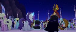 Size: 1920x804 | Tagged: safe, screencap, aquamarine glow, bunny moon, capper dapperpaws, chocolate apple, coco pommel, derpy hooves, rarity, abyssinian, anthro, earth pony, pegasus, pony, unicorn, my little pony: the movie, anthro with ponies, background pony, cape, clothes, feather, glowing horn, happy, hat, magic, magic aura, rainbow (song), surprised, top hat, unnamed pony