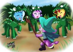 Size: 1024x735 | Tagged: safe, artist:danmakuman, spike, starlight glimmer, sunset shimmer, trixie, dinosaur, dragon, pony, unicorn, velociraptor, boots, cape, clothes, cosplay, costume, cute, danmakuman is trying to murder us, diatrixes, dragon costume, garbuncle, glimmerbetes, hat, jurassic world, lord of the rings, magical trio, owen grady, prattkeeping, shimmerbetes, shoes, staff, weapons-grade cute, wizard, wizard hat, you shall not pass