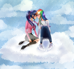 Size: 3000x2800 | Tagged: artist:rmariansj, blushing, clothes, cloud, female, glasses, human, humanized, imminent kissing, lesbian, rainbow dash, safe, sci-twi, scitwidash, shipping, sitting, twidash, twilight sparkle