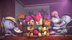 Size: 3840x2160 | Tagged: 3d, apple bloom, artist:viranimation, button mash, dinky hooves, dinkysqueak, female, heart eyes, hearts and hooves day, kissing, male, pipsqueak, rumbelle, rumble, safe, scootaloo, scootamash, shipping, source filmmaker, straight, sweetie belle, tenderbloom, tender taps, wingding eyes
