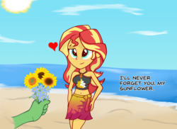 Size: 1650x1203 | Tagged: safe, artist:zharkaer, sunset shimmer, oc, oc:anon, human, equestria girls, equestria girls series, forgotten friendship, beach, belly button, blushing, bouquet, clothes, cute, dialogue, disembodied hand, female, floating heart, flower, forget-me-not, geode of empathy, hand, hand on hip, heart, holiday, lidded eyes, magical geodes, male, midriff, offscreen character, pov, sarong, shimmerbetes, sunflower, swimsuit, valentine's day