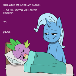 Size: 1280x1280 | Tagged: artist:raph13th, bed, dragon, eyes closed, female, male, mare, not creepy, pony, purple background, safe, shipping, simple background, sleeping, smiling, spike, spixie, straight, text, trixie, unicorn