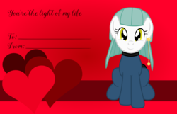 Size: 3156x2028 | Tagged: safe, artist:badumsquish, derpibooru exclusive, oc, oc only, oc:candes, lamp pony, object pony, original species, pony, chubby, ear piercing, earring, female, heart, holiday, jewelry, lamp, looking at you, piercing, ponified, pun, sitting, smiling, solo, valentine, valentine's day, valentine's day card