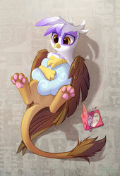 Size: 800x1179   Tagged: safe, artist:tomatocoup, gilda, griffon, about to cry, cloud, cruel, cute, female, gildadorable, holiday, hug, on back, paws, pillow, sad, solo, underpaw, valentine's day, valentine's day card