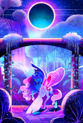 Size: 1900x2823 | Tagged: safe, artist:clockworkquartet, princess luna, alicorn, pony, arch, color porn, column, eclipse, eyestrain warning, female, glowing horn, horn, looking at you, magic, mare, moon, open mouth, pillar, solo, sun, tree, vine, water, waterfall, wings