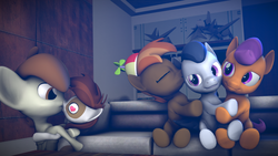 Size: 3840x2160 | Tagged: safe, artist:viranimation, button mash, featherweight, pipsqueak, rumble, tender taps, 3d, bruh, feathersqueak, gay, heart eyes, hearts and hooves day, hug, hug sandwich, kiss on the cheek, kissing, male, rumble gets all the colts, rumblemash, rumbletaps, shipping, source filmmaker, wingding eyes