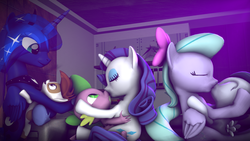 Size: 3840x2160 | Tagged: safe, artist:viranimation, flitter, pipsqueak, princess luna, rarity, rumble, spike, 3d, age difference, female, flitterumble, hearts and hooves day, kissing, lunapip, male, shipping, source filmmaker, sparity, straight, straight shota