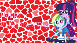 Size: 1920x1080 | Tagged: cute, equestria girls, equestria girls series, female, happy valentines day, heart, lesbian, rainbow dash, safe, sci-twi, scitwidash, shipping, twidash, twilight sparkle