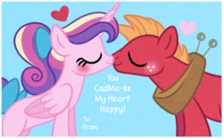 Size: 1000x620 | Tagged: artist:carouselunique, big macintosh, cadmac, female, hearts and hooves day, holiday, male, princess cadance, safe, shipping, straight, teenage big macintosh, teenager, teen princess cadance, valentine card, valentine's day