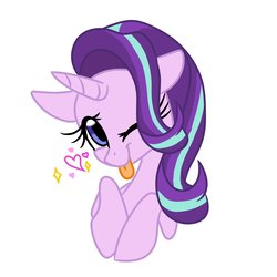 Size: 2000x2000 | Tagged: safe, artist:jen-neigh, starlight glimmer, pony, unicorn, bust, cute, female, glimmerbetes, heart, one eye closed, portrait, simple background, solo, tongue out, white background, wink