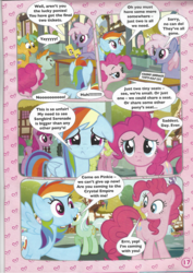 Size: 826x1169 | Tagged: safe, berry punch, berryshine, daisy, flower wishes, lyra heartstrings, pinkie pie, rainbow dash, rainbowshine, snails, snips, songbird serenade, earth pony, pegasus, pony, unicorn, my little pony: the movie, colt, comic, female, floppy ears, grin, magazine scan, male, mare, raised hoof, smiling, stock vector