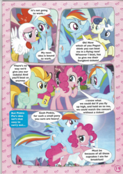 Size: 826x1169 | Tagged: safe, bon bon, lightning dust, pinkie pie, pokey pierce, rainbow dash, songbird serenade, sweetie drops, earth pony, pegasus, pony, unicorn, my little pony: the movie, animal costume, chicken pie, chicken suit, clothes, comic, costume, female, headworn microphone, holding a pony, hoof hold, magazine scan, mare, stock vector
