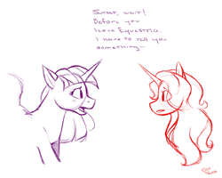 Size: 1280x1024 | Tagged: safe, artist:eeviart, sunset shimmer, twilight sparkle, alicorn, blushing, confession, cute, female, lesbian, looking at each other, pencil drawing, shipping, sunsetsparkle, traditional art, twilight sparkle (alicorn)