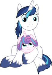 Size: 3000x4282 | Tagged: safe, artist:cloudyglow, princess flurry heart, shining armor, alicorn, pony, unicorn, once upon a zeppelin, .ai available, absurd resolution, baby, baby pony, cute, duo, duo male and female, father and child, father and daughter, female, filly, flurrybetes, foal, holding a pony, horn, looking at each other, looking down, looking up, male, shining adorable, simple background, smiling, stallion, transparent background, vector, wings