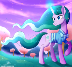 Size: 1871x1742   Tagged: safe, artist:the-butch-x, mistmane, pony, unicorn, bow, breeze, clothes, cloud, curved horn, female, glowing horn, grass, horn, magic, mare, mountain, petals, sky, solo, tree, wind