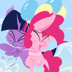 Size: 1000x1000   Tagged: safe, artist:dragonpone, derpibooru exclusive, pinkie pie, twilight sparkle, alicorn, earth pony, pony, balloon, blushing, cheek fluff, chest fluff, cute, ear fluff, eyes closed, feather, female, floating, flying, hug, lesbian, mare, open mouth, shipping, sky, smiling, spread wings, then watch her balloons lift her up to the sky, twilight sparkle (alicorn), twinkie, wings
