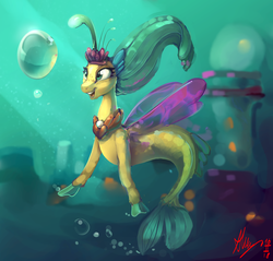 Size: 2924x2800 | Tagged: artist:alumx, building, freckles, my little pony: the movie, princess skystar, safe, seapony (g4), solo, underwater, water