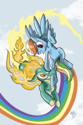 Size: 1024x1536   Tagged: safe, artist:lytlethelemur, rainbow dash, tianhuo, longma, pegasus, pony, them's fightin' herds, armpits, crossover, duo, fiery wings, fight, flying, mane of fire, rainbow trail