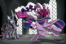 Size: 1024x683   Tagged: safe, artist:lytlethelemur, fhtng th§ ¿nsp§kbl, oleander, twilight sparkle, alicorn, classical unicorn, pony, unicorn, them's fightin' herds, book, cloven hooves, crossover, curved horn, dark magic, fight, fred, leonine tail, magic, open mouth, ram, spellbook, teeth, temple, twilight sparkle (alicorn), unicornomicon, unshorn fetlocks