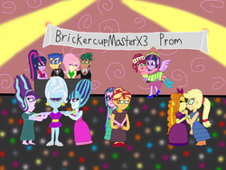 Size: 4032x3024 | Tagged: safe, artist:ktd1993, adagio dazzle, applejack, aria blaze, flash sentry, fluttershy, gloriosa daisy, sci-twi, sonata dusk, starlight glimmer, sunset shimmer, timber spruce, trixie, twilight sparkle, alicorn, equestria girls, beehive, beehive hairdo, bridal carry, bun hairstyle, daisylight, dazzlejack, female, flashlight, kissing, lesbian, male, ponytail, prom, sciflash, shipping, sonxie, straight, sunblaze, timbershy, twidaisy, twilight sparkle (alicorn)