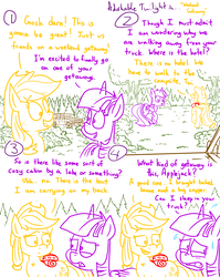 Size: 4779x6013   Tagged: safe, artist:adorkabletwilightandfriends, applejack, twilight sparkle, alicorn, pony, comic:adorkable twilight and friends, absurd resolution, adorkable twilight, camping, car, comic, evergreen tree, forest, hat, hiking, lineart, nature, pine tree, plot, sleeping bag, suv, sweat, this will end in explosions, this will end in farts, this will end in fire, trail, tree, trip, twilight sparkle (alicorn), vacation, walking