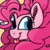 Size: 1500x1500 | Tagged: artist:binkyt11, blep, bust, earth pony, featured image, female, fluffy mane, impossibly large mane, looking back, mare, medibang paint, pinkie pie, pixel art, ponk, pony, safe, silly, silly pony, simple background, solo, tongue out, yellow background