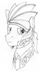 Size: 1024x1844 | Tagged: safe, artist:drcool13, oc, oc only, pony, bust, councilor, helmet, male, monochrome, pencil drawing, portrait, simple background, solo, stallion, traditional art, white background