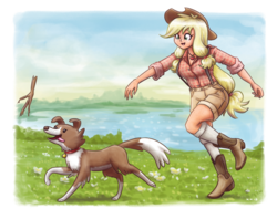 Size: 1615x1280 | Tagged: applejack, artist:king-kakapo, boots, clothes, cowboy hat, cute, dog, female, freckles, grass, hat, human, human female, humanized, jackabetes, long socks, plaid shirt, safe, shoes, shorts, smiling, stetson, stick, suspenders, throwing, water, winona