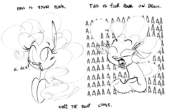 Size: 1372x887 | Tagged: safe, artist:hattsy, pinkie pie, earth pony, pony, aaaaaaaaaa, black and white, bust, cute, derp, dialogue, diapinkes, drugs, female, floppy ears, grayscale, hi, mare, monochrome, open mouth, ponk, public service announcement, screaming, shrunken pupils, simple background, smiling, solo, text, this is your brain on drugs, tongue out, underhoof, wat, white background