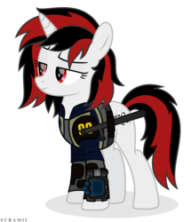 Size: 5236x6100 | Tagged: safe, artist:suramii, oc, oc:blackjack, pony, unicorn, fallout equestria, fallout equestria: project horizons, absurd resolution, clothes, female, mare, pipbuck, simple background, solo, transparent background