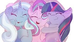 Size: 1600x920 | Tagged: safe, artist:bow2yourwaifu, starlight glimmer, trixie, twilight sparkle, female, hearts and hooves day, holiday, lesbian, shipping, startrix, twistarlight, twixie, twixstar, valentine's day