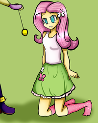 Size: 720x900 | Tagged: safe, artist:billcipherspuppet, adagio dazzle, equestria girls, clothes, cutie mark on clothes, hypnosis, hypnotized, kneeling, missing shoes, pendulum, pendulum swing, socks, swirly eyes