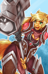 Size: 990x1530   Tagged: safe, artist:bumblebun, part of a set, applejack, earth pony, anthro, armor, fantasy class, female, freckles, hammer, knight, mare, open mouth, paladin, smiling, solo, warrior
