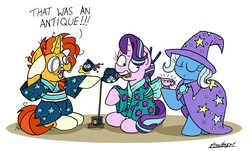 Size: 2356x1426 | Tagged: safe, artist:bobthedalek, starlight glimmer, sunburst, trixie, pony, unicorn, alternate hairstyle, cape, clothes, cup, eyes closed, female, food, hat, inconvenient trixie, kimono (clothing), magic, male, mare, mouth hold, proud, simple background, stallion, tea, tea ceremony, teacup, teapot, that pony sure does love antiques, that pony sure does love teacups, transformation, trio, trixie's cape, trixie's hat, white background