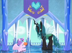 Size: 2500x1826 | Tagged: safe, artist:xodok, princess flurry heart, queen chrysalis, changeling, changeling queen, auntie chrissy, baby, crystal castle, crystal empire, crystal heart, cute, cutealis, duo, duo female, eye contact, female, filly, flurrybetes, foal, heart, looking at each other, mare, sharing