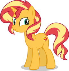 Size: 8440x8635 | Tagged: safe, artist:millennial dan, artist:sugar-loop, sunset shimmer, pony, unicorn, equestria girls, equestria girls series, forgotten friendship, absurd resolution, cute, female, mare, shimmerbetes, simple background, smiling, solo, transparent background, vector