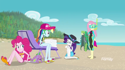 Size: 1280x720 | Tagged: barefoot, discovery family logo, diving goggles, diving suit, equestria girls, equestria girls series, feet, flip-flops, flippers, fluttershy, forgotten friendship, pinkie pie, rainbow dash, rarity, safe, sandals, screencap, seaweed, snorkel, spike, towel, wet hair, wetsuit
